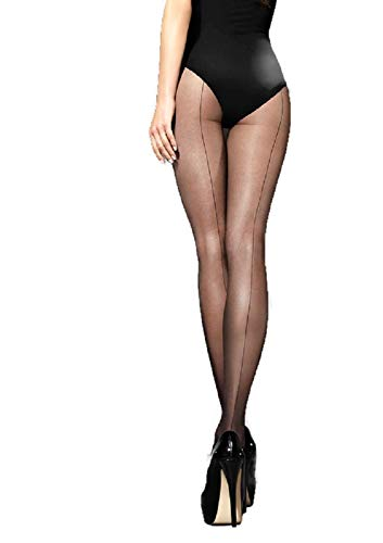 Marilyn Silky Sheer with Backseam Pantyhose (Black Backseam, L)
