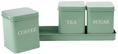 Mind Reader 4 Piece Coffee, Tea, Sugar Storage Kitchen Canister Set with Holding Tray, (Green Canister)