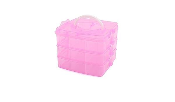 Amazon.com: eDealMax plástico Rosado Pequeño 3 capas 18 ranuras de la caja de almacenaje Ajustable Joyas Ropa de contenedores w Mango: Health & Personal ...