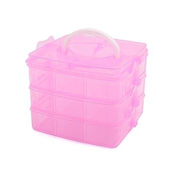 eDealMax plástico Rosado Pequeño 3 capas 18 ranuras de la caja de almacenaje Ajustable Joyas Ropa