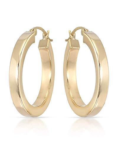 MCS Jewelry 14 Karat Yellow Gold Classic Square Tube Hoop Earrings (Diameter: 25 mm) ()