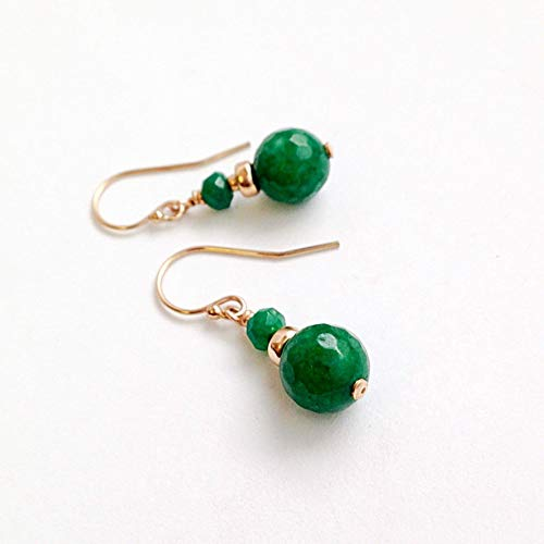 - Jade Earrings 12th Anniversary Gifts for Wife Handmade Jade Jewelry Green Gold Earrings 35th Anniversary