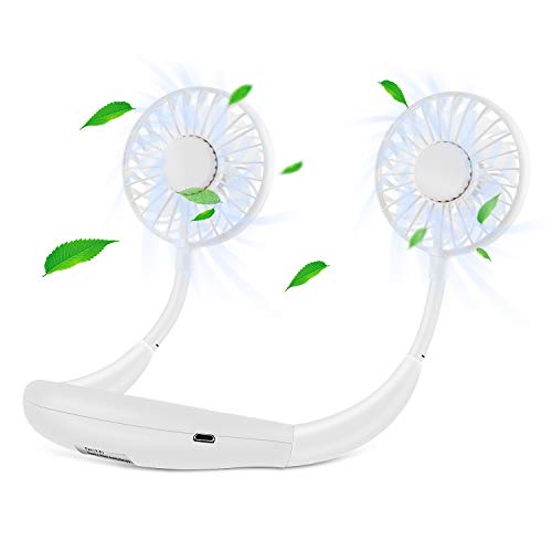 Hand Free Fan Wearable Personal Neckband Fan, Portable USB Desktop Fan with 3 Speeds, 360 Degree Adjustment Sport Fan for Home Office Travel Sport (White) (Best Gadgets For Home Office)