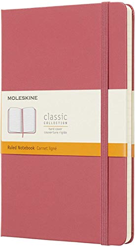 """Moleskine Classic Notebook, Hard Cover, Large (5"""" x 8.25"""") Ruled/Lined, Daisy Pink, 240 Pages"""