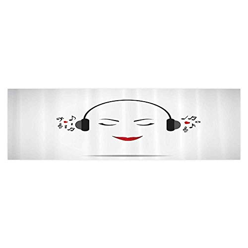 Philip C. Williams Aquarium Decorative Young Lady Listening Music with Earphes Smiling Close Eyed Girl Enjoying Melody Home Decoration 23.6