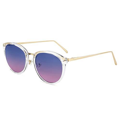TIJN Vintage Round Metal Optical Eyewear Non-prescription Eyeglasses Frame for Women ((Sunglasses) Gold Frame with Blue Gradient Pink Lens, ()