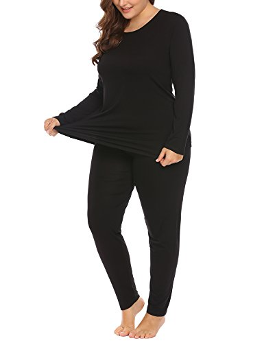 Women's Plus Size Thermal Long Johns Sets 2 Pcs Underwear Top & Bottom Pajama XL-11XL by Vpicuo (Image #3)