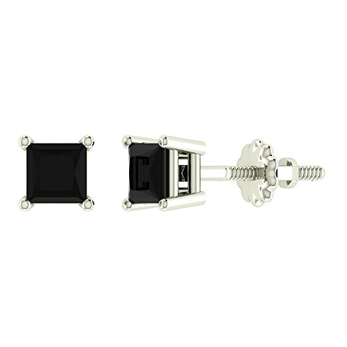 Black Diamond Earrings Princess Cut 14K White Gold Studs 1/4 carat total weight Screw Back Posts Natural Earth-mined
