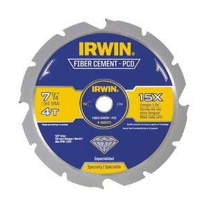 - IRWIN Tools Polycrystalline Diamond-Tipped Fiber Cement Circular Saw Blade, 7 1/4-inch, 4-Tooth (4935473)