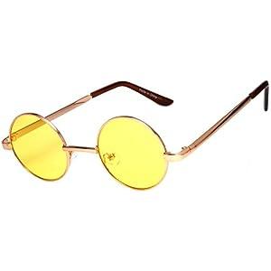 Round Retro Vintage Circle Style Sunglasses Yellow Lens Metal Frame