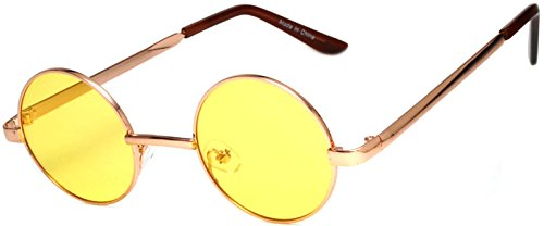Round Retro Vintage Circle Style Sunglasses Yellow Lens Metal - Circle Frame Sunglasses