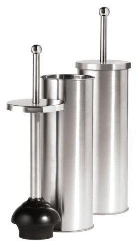 Oggi Satin Finish Stainless Steel 14.5 Inch Toilet Plunger and Holder by Oggi