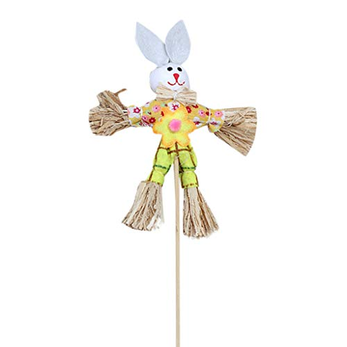 - HHmei Easter Bunny Theme Handheld Scarecrow Non Woven Fabric Straw Materials Toy Props Rabbit Scarecrow in (Yellow)