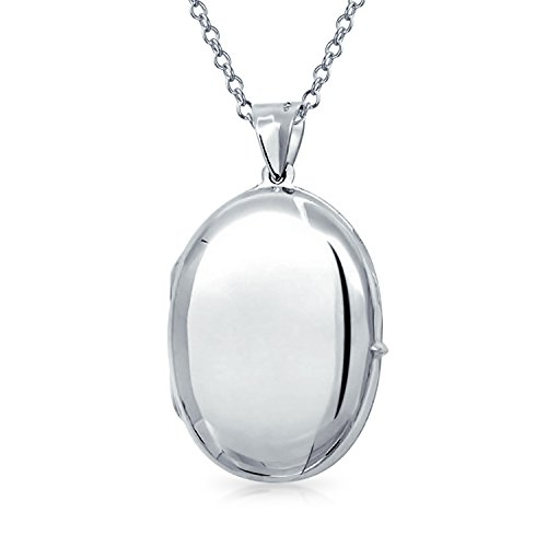 - Engravable Plain Simple Oval Locket Pendant Necklace For Women Gift For Mother 925 Sterling Silver
