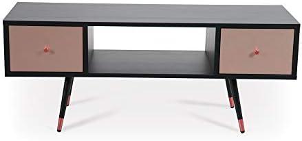 Nord Mood Mueble de TV negro moderno mueble de entretenimiento minimalista para TV Acentos de latón materiales reciclados Textura madera Soporte de TV Muebles de salón, Cobre cepillado., multicolor, 47x16x20 inches: Amazon.es: