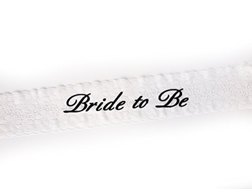 Trendy Bride to Be White Lace Sash by Express Novelties Online