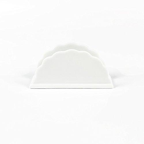 OLIA HOME Ceramic Coffee Filter Paper Stand Coffee Filter Dispenser Rack Shelf Table Ornament Tissue Holder(Big Wavy Line)