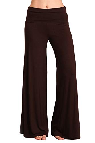 HEYHUN Womens Tie Dye Solid Wide Leg Bottom Boho Hippie Lounge Palazzo Pants - Brown - ()