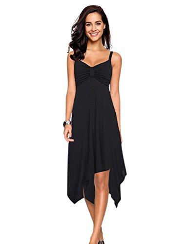 Leadingstar Women Spaghetti Strap Ruched Asymmetrical Dress Sundress -Black XL