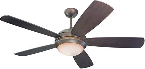Monte Carlo 5DI52RBD-L Discus 52 Ceiling Fan with Light and Pull Chain, 5 Blades, Roman Bronze
