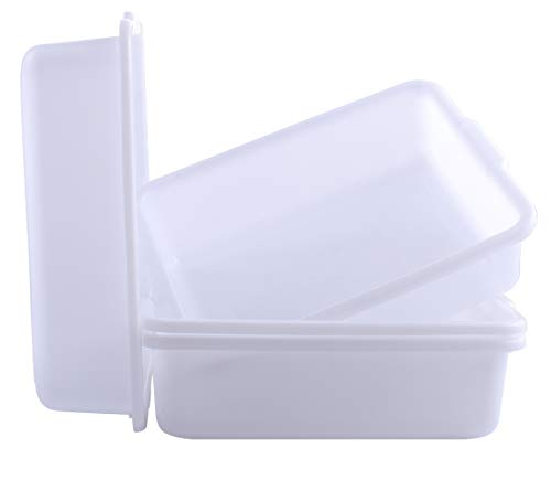 4-Pack Plastic Commercial Bus Tubs Box/Tote Box, White 8 Liter Plastic Storage Bin with Handles Wash Basin Tub/Dish (8.5 QT)