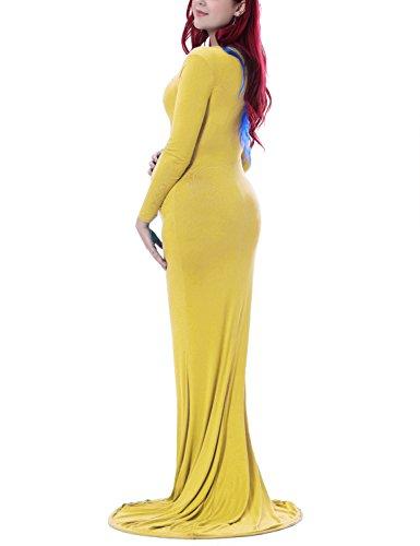 0edcf897a77e8 Saslax Maternity Elegant Fitted Maternity Gown Long Sleeve Slim Fit Maxi  Photography Dress Heart Yellow M