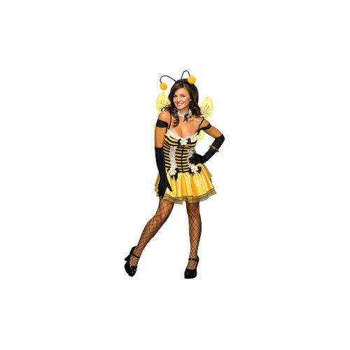 Secret Wishes Women's Adult Sassy Honey Bee Costume, Black/Yellow, Medium]()