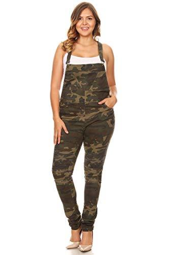 American Bazi Junior Plus Moto Style Distressed Twill Camouflage Print Overalls Olive 2X Chic Cotton Moto Jacket