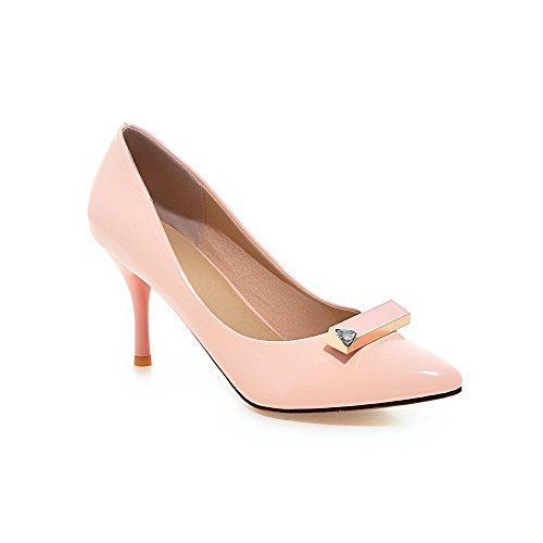 Di Scarpe Puro Chiusa Pelle Punta Donna Spillo Voguezone009 Ballerine Tacco Maiale Tirare Rosa A pxqA10