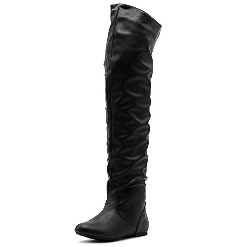 Ollio Women's Shoe Stretch Faux Leather Over The Knee Flat Wrinkle Long Boots TWB01033 (8 B(M) US, Black-PU)