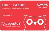 Page Plus $29.95 Monthly Prepaid Pin 1200 Minutes, 3000 Texts/MMS, 500 MB of Data (Top Up, Refill, Reup, Recharge)