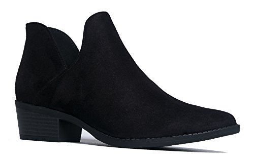 Cute Western Cowboy Bootie - Womens Pointed Toe Slip on Ankle Boot - Zip Up Low Heel - Levi by J. Adams,Black Imsu,7 B(M) US