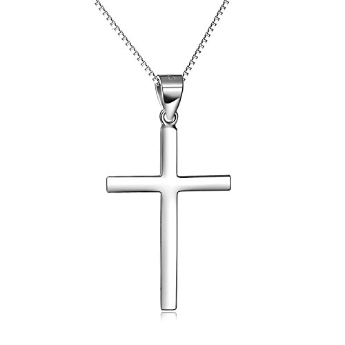 - LUHE Sterling Silver Simple Cross Necklace High Polished White Gold Plated Religious Cross Jewelry for Women Girls, 18