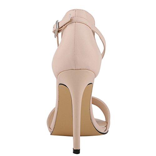 fereshte Ladies Womens Ankle Strap High Stiletto Heel Office Sandal Nude aQMxp