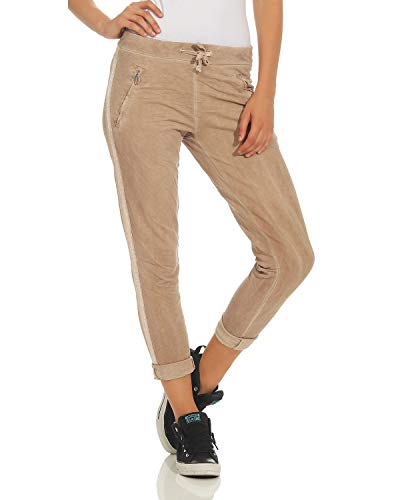 ZARMEXX Dames Pantalons Pantalons Coton Pantalon avec Incrustation 816133 Affaires Boyfriends Occasionnels Beige