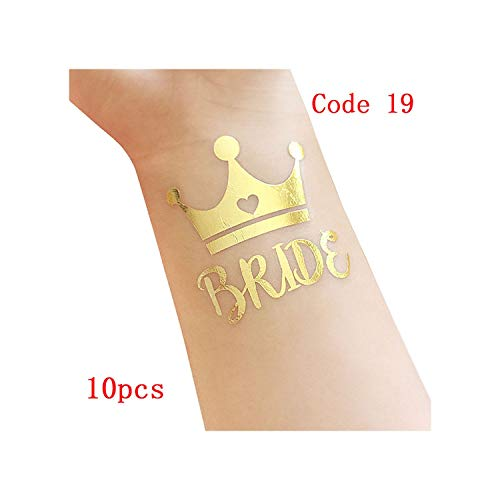 Party Decoration 10Pcs Wedding Decoration Bride to Be Tattoos Stickers Wedding Supplies Team Bride Bachelorette Hen Party Bachelor Flamingo Boda,10Pcs-Code19