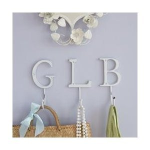 White Distressed Metal Coat Hook   Letter G   ideal for hanging