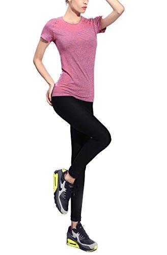 suzone camiseta deportes de mujer Yoga superior entrenamiento de manga corta T-Shirt naranja