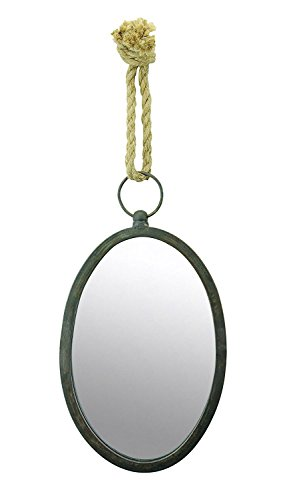 Stonebriar Oval Nautical Mirror for Wall with Hanging Loop, Unique Home Décor for Bathroom, Bedroom, Office, or Hallway, - Beach Mirror Collection Oval