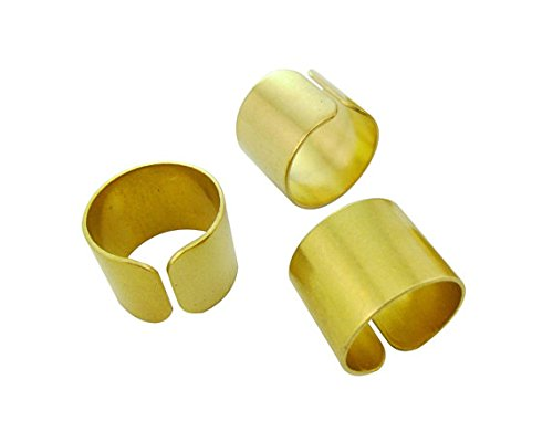 - 10pcs 19mm Round Wide Tube Rings Blanks Bases Raw Brass Embossed Sculpturing Minimal Custom Makers Gold Tone Lead Nickel Free