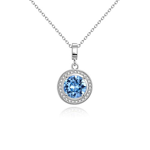 (AOBOCO Sterling Silver Halo Necklace White Gold Plated Birthstone Pendant Necklace with Simulated Aquamarine Swarovski Crystal,Wedding Engagement Gift for Women)