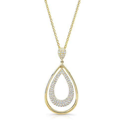 (Diamond Double Oval Pendant Necklace In 14k Yellow Gold, 18)