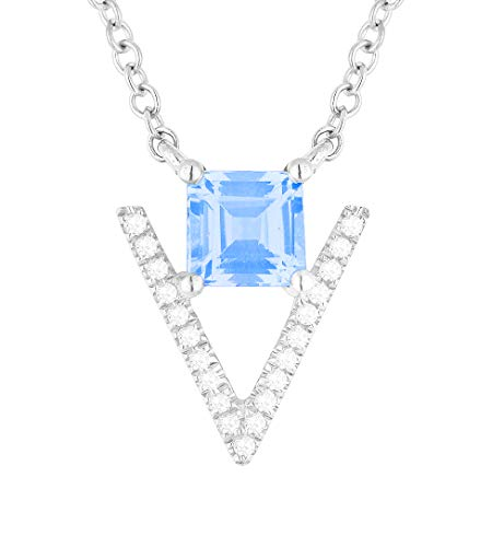 Diamond Aa Blue Pendant Topaz - 14K White Gold Princess Shape Swiss Blue Topaz and Diamond Pendant