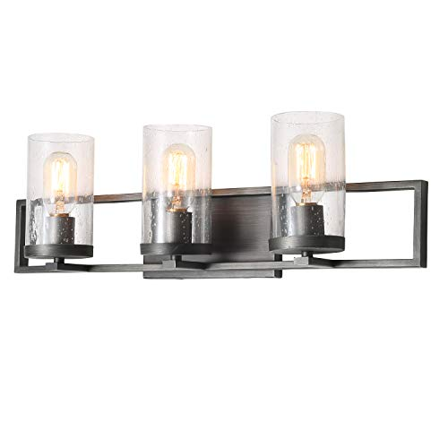 (LALUZ 3-Lights Rustic Bathroom Vanity Fixture with Seeded Glass, 24.2 inches)