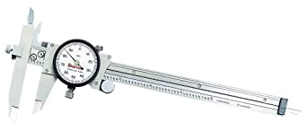 """Starrett 120JZ-6 Dial Caliper, Stainless Steel, Offset Jaw, White Face, 0-6"""" Range, +/-0.001"""" Accuracy, 0.001"""" Resolution"""
