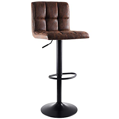 SUPERJARE Single Bar Stool, Swivel Barstool Chair with Back, Modern Pub Kitchen Counter Height, Retro Brown, Fabric
