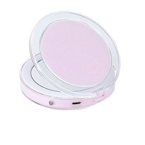 Muranba 2019 ! LED Glow Up Compact Mirror Mini Makeup Mirror Magnify Hand Held Fold Portable (Pink) (Best Compact Dryers 2019)