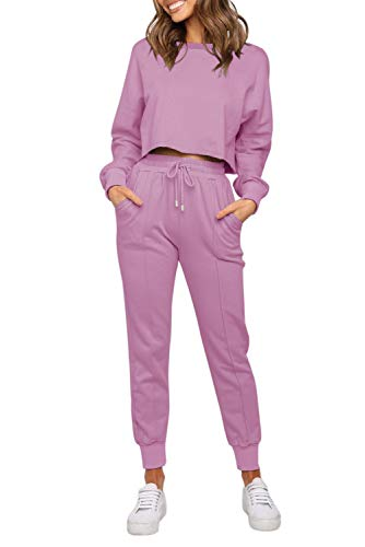 ZESICA Women's Long Sleeve Crop Top and Pants Pajama Sets 2 Piece Jogger Long Sleepwear Loungewear Pjs Sets