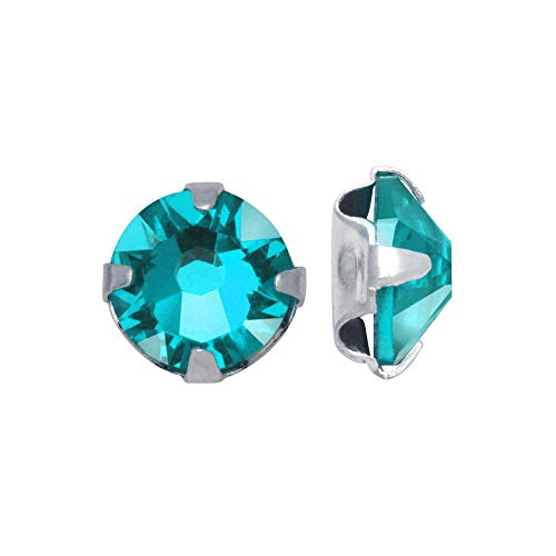 Swarovski Crystal, 53102 Rose Montees SS16 4mm, 24 Pieces, Light Turquoise/Silver Plated ()