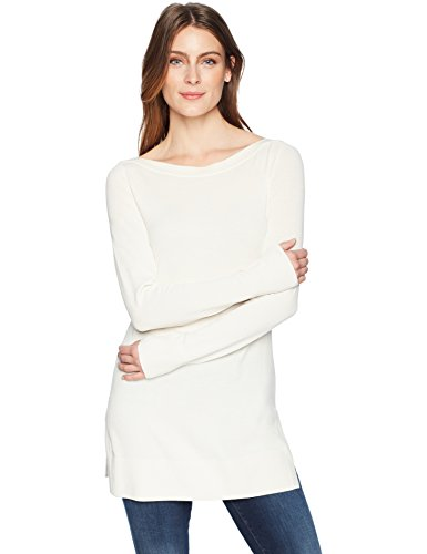 Boatneck Pullover Sweater - Amazon Brand - Lark & Ro Women's Boatneck Tunic Sweater, Ivory,Large